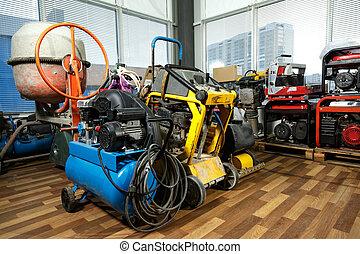 A range of machines in storage room