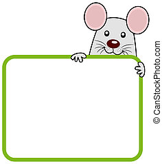 a rat with a placard