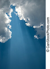 A ray of sunlight from the clouds