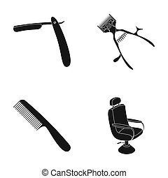 A razor, a mechanical hair clipper, an armchair and other equipment for a hairdresser. Barbershop set collection icons in black style raster, bitmap symbol stock illustration web.