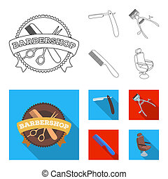 A razor, a mechanical hair clipper, an armchair and other equipment for a hairdresser. Barbershop set collection icons in outline, flat style bitmap symbol stock illustration web.
