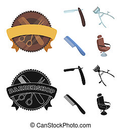 A razor, a mechanical hair clipper, an armchair and other equipment for a hairdresser. Barbershop set collection icons in cartoon, black style bitmap symbol stock illustration web.