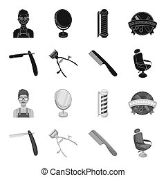 A razor, a mechanical hair clipper, an armchair and other equipment for a hairdresser. Barbershop set collection icons in black, monochrome style bitmap symbol stock illustration web.