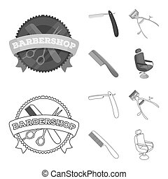 A razor, a mechanical hair clipper, an armchair and other equipment for a hairdresser. Barbershop set collection icons in outline, monochrome style bitmap symbol stock illustration web.