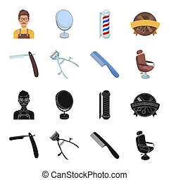A razor, a mechanical hair clipper, an armchair and other equipment for a hairdresser. Barbershop set collection icons in black, cartoon style bitmap symbol stock illustration web.