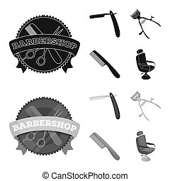 A razor, a mechanical hair clipper, an armchair and other equipment for a hairdresser. Barbershop set collection icons in black, monochrom style bitmap symbol stock illustration web.