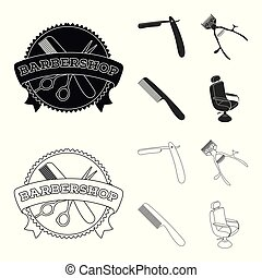 A razor, a mechanical hair clipper, an armchair and other equipment for a hairdresser. Barbershop set collection icons in black, outline style vector symbol stock illustration web.