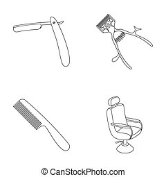 A razor, a mechanical hair clipper, an armchair and other equipment for a hairdresser. Barbershop set collection icons in outline style raster, bitmap symbol stock illustration web.