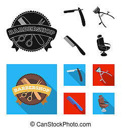 A razor, a mechanical hair clipper, an armchair and other equipment for a hairdresser. Barbershop set collection icons in black, flat style bitmap symbol stock illustration web.