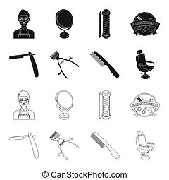 A razor, a mechanical hair clipper, an armchair and other equipment for a hairdresser. Barbershop set collection icons in black, outline style bitmap symbol stock illustration web.