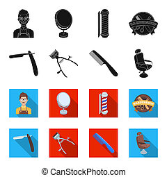 A razor, a mechanical hair clipper, an armchair and other equipment for a hairdresser. Barbershop set collection icons in black, flet style bitmap symbol stock illustration web.