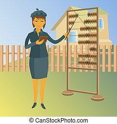 A real estate agent with abacus. Vector property for sale illustration
