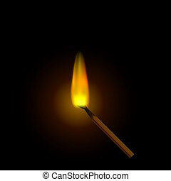 A realistic burning match, against a dark background.