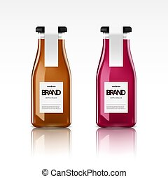 A Realistic Glass Bottle Of Fresh Juice
