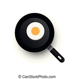 A realistic hot vector frying pan heated up. View from above. Smooth eggs in a frying pan