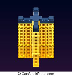 A realistic multi-story modern building with lights on a night background in isometric style. Isometric projection. Vector illustration