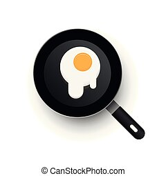 A realistic vector frying pan. Scrambled eggs spread out.