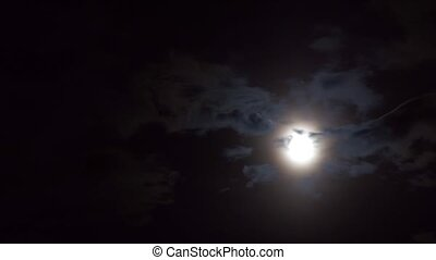 A realtime shot of the full moon on a cloudy night. Not...