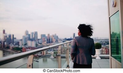 A rear view of businesswoman walking on a terrace at sunset....