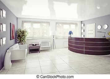 A reception area -modern interior