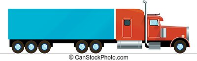 red American truck trailer freight cargo flat design isolated