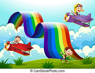 Illustration of a red and a violet plane with monkeys flying near the rainbow
