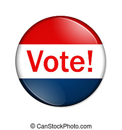 A red and blue button with word vote isolated on a white background, Vote button