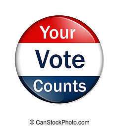 Your Vote Counts button - A red and blue button with words...