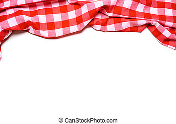 A red and white gingham tablecloth on a white background
