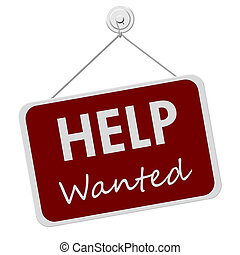 Help Wanted Sign - A red and white sign with the words Help ...