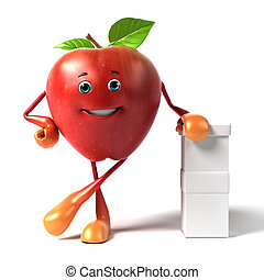A red apple - 3d rendered illustration of a red apple