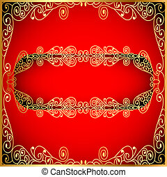 a red background a frame with a gold ornament
