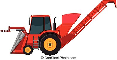 A red backhoe on white background
