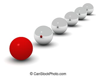 a red ball in front of a line of shiny balls