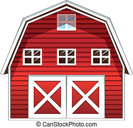 A red barn house - Illustration of a red barn house on a...