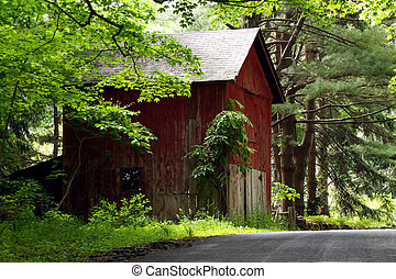 Red Barn near a road