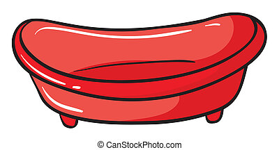 A red basin - Illustration of a red basin on a white ...