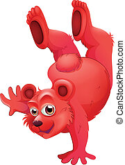 Illustration of a red bear doing a handstand on a white background