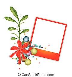 A Red Blank Photos with Mistletoe Bunch