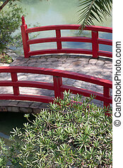 a Red Bridge at the Japanese Garden.