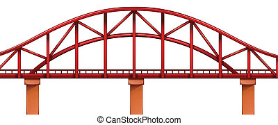 A red bridge - Illustration of a red bridge on a white...