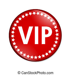 VIP button - A red button with word VIP and stars isolated...