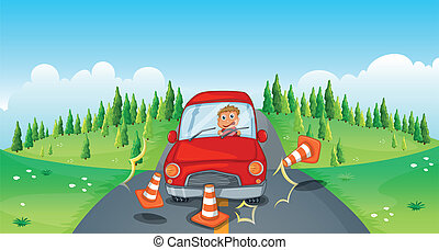 A red car at the road bumping the traffic cones
