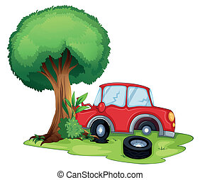 A red car bumping on a tree
