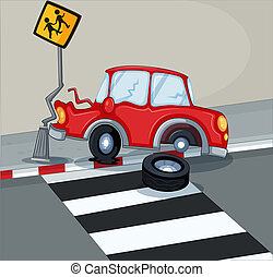 A red car bumping the signage near the pedestrian lane -...