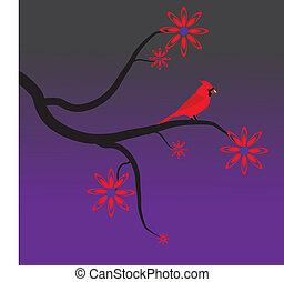 Red Cardinal in a Tree - A Red Cardinal in a Tree