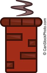 A red chimney with smoke vector or color illustration
