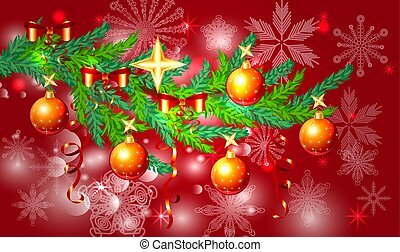 A red Christmas background with snowflakes, coniferous branches, decorated with balls, stars, ribbons. The inscription of Merry Christmas and a Happy New Year