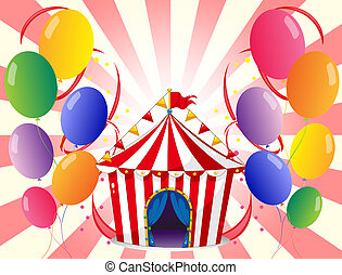 A red circus tent with balloons
