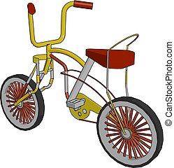 A red colored comfortable child bicycle vector or color...